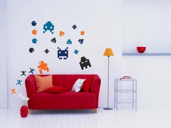 Wall Art Pixel Art Arcade 8 Bit Sprites Vinyl Wall Decal Intended For Arcade Wall Art (View 8 of 20)