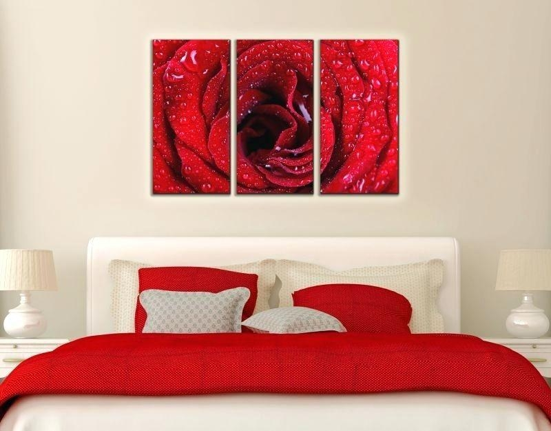 Wall Art ~ Red Rose Canvas Art Wall Decoration Red Rose Large Red Throughout Rose Canvas Wall Art (View 10 of 20)