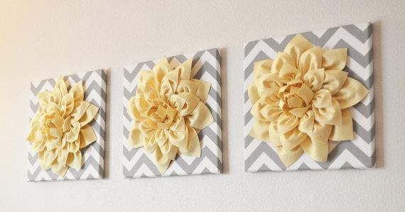 Wall Art Set Of Three Light Yellow Dahlia On Gray And White Within Gray And White Wall Art (Image 19 of 20)