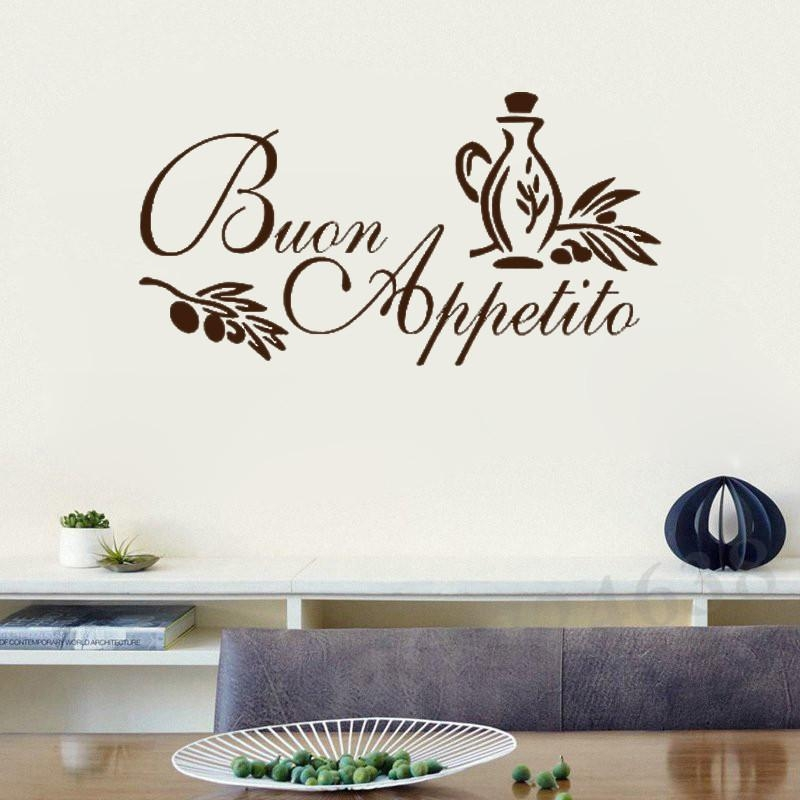 Wall Art Sticker Italian Quote Kitchen Decal Greeting Meal Vinyl For Italian Words Wall Art (Image 19 of 20)