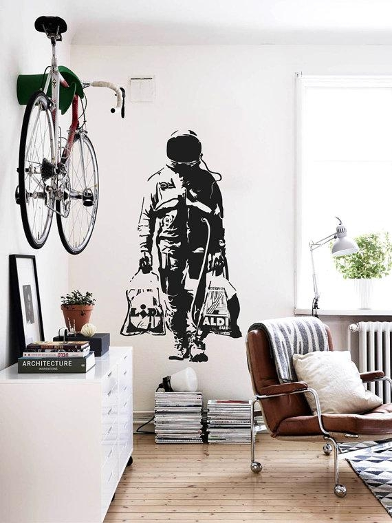 Wall Decal Banksy Astronaut Shopping Street Art Sticker Inside Street Wall Art Decals (Image 20 of 20)