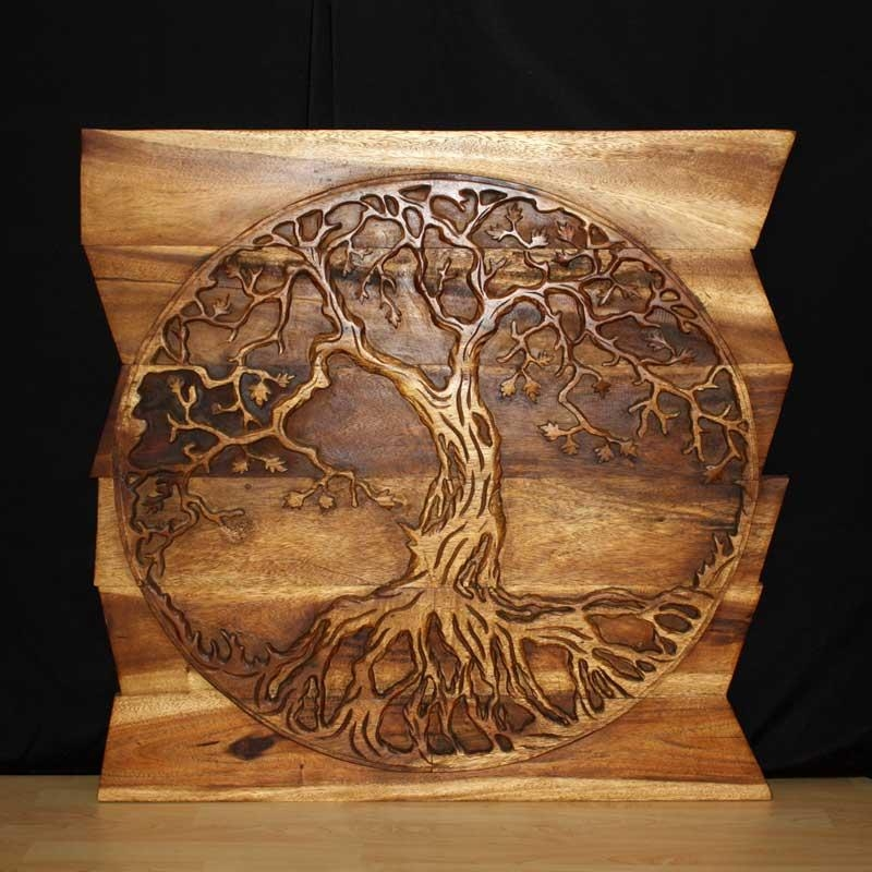 Wall Decor Nature Carved Wood Art Photo Gallery Kan Thai Decor For Tree Of Life Wood Carving Wall Art (Image 16 of 20)