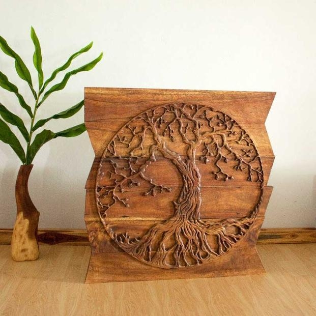 Wall Decor Tree Of Life Art, Carved Wood Panels In A Walnut Finish Intended For Tree Of Life Wood Carving Wall Art (Image 17 of 20)