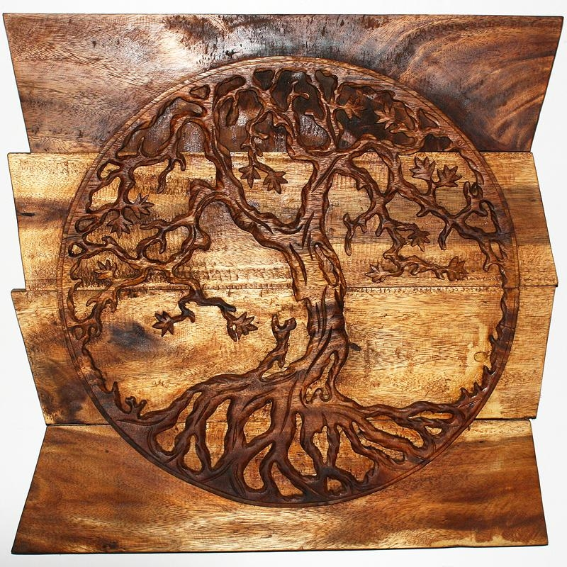 Wall Decor Tree Of Life Art, Carved Wood Panels In A Walnut Finish Within Tree Of Life Wood Carving Wall Art (Image 18 of 20)
