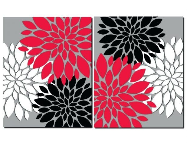 Wall Ideas : 3 Piece Photo Canvas Flower Artwork Purple Multi Throughout Silver Metal Wall Art Flowers (Image 15 of 20)