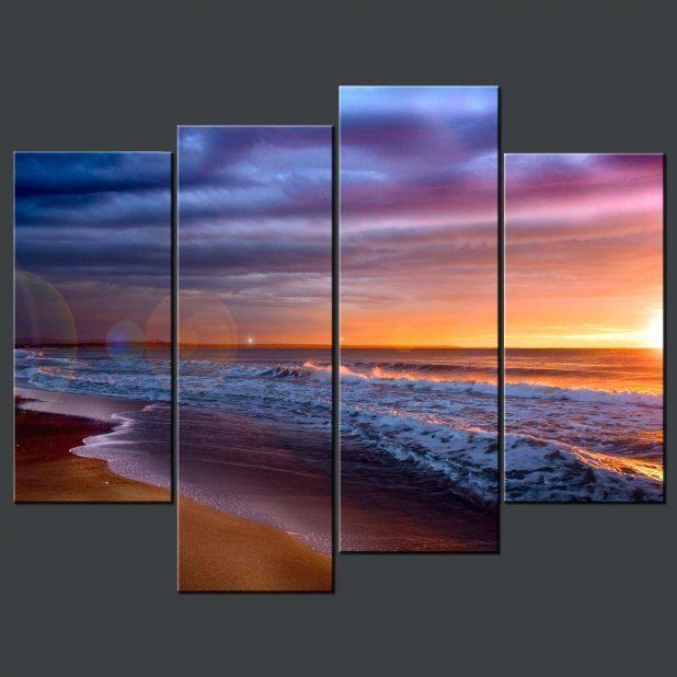 Wall Ideas : Sunset Beach Blue Split Canvas Wall Art Beach Themed Within Split Wall Art (View 20 of 20)