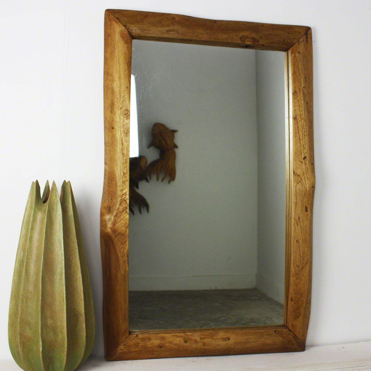 "Wall Mirror 22""x 35"" Rectangle Teak Wood Framed With Natural Edge (Image 16 of 20)"