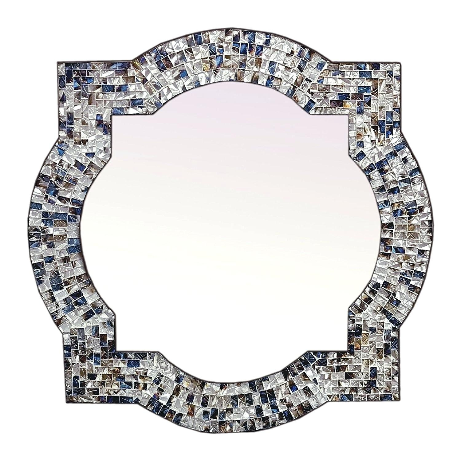 Wall Mirrors ~ Champagne Mirrored Mosaic Damask Panel Mirror Throughout Damask Mirrors (View 11 of 20)