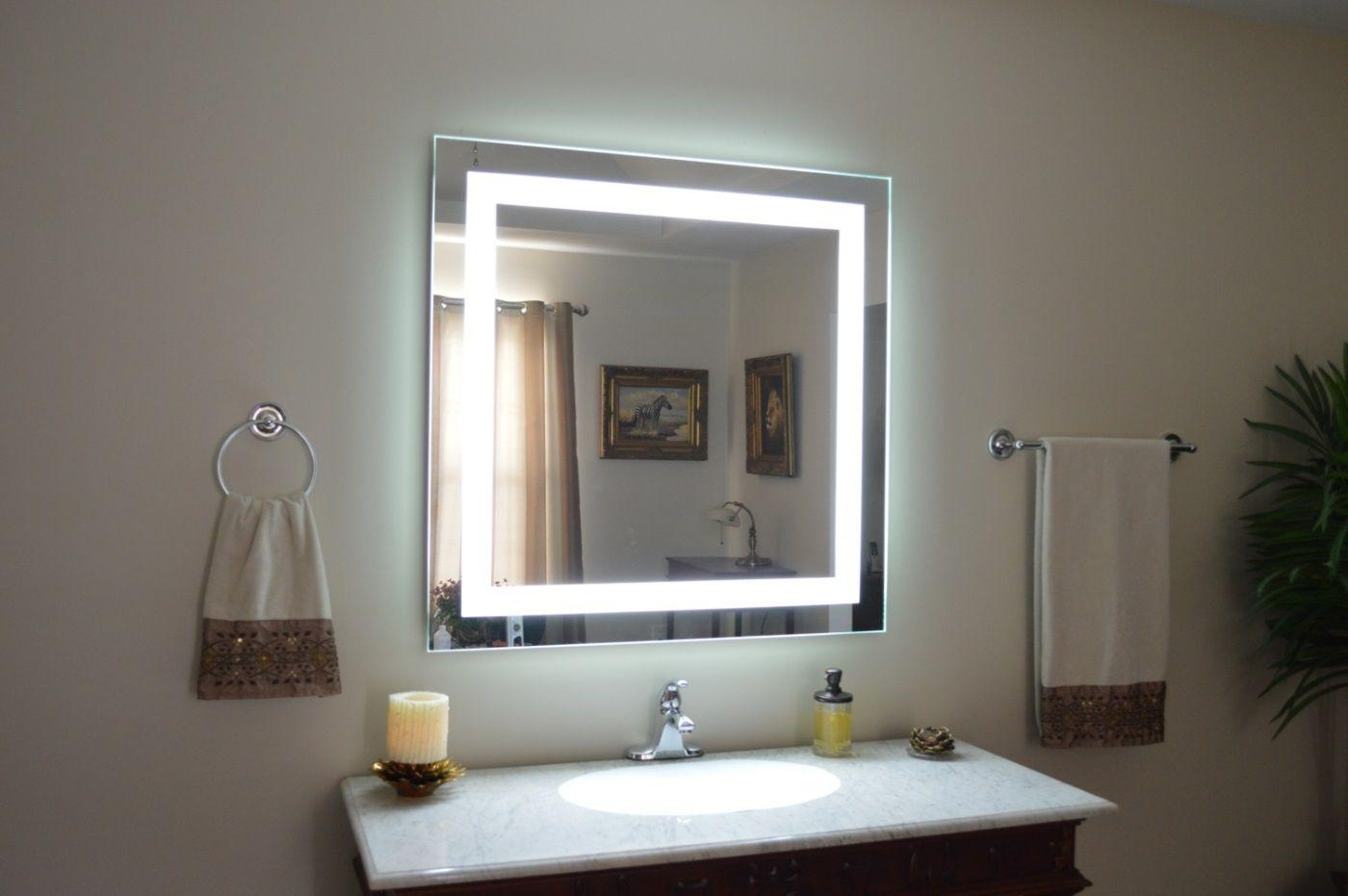 Wall Mounted Lighted Makeup Mirror Bronze : Wall Mounted Lighted With Wall Mounted Lighted Makeup Mirrors (Image 18 of 20)