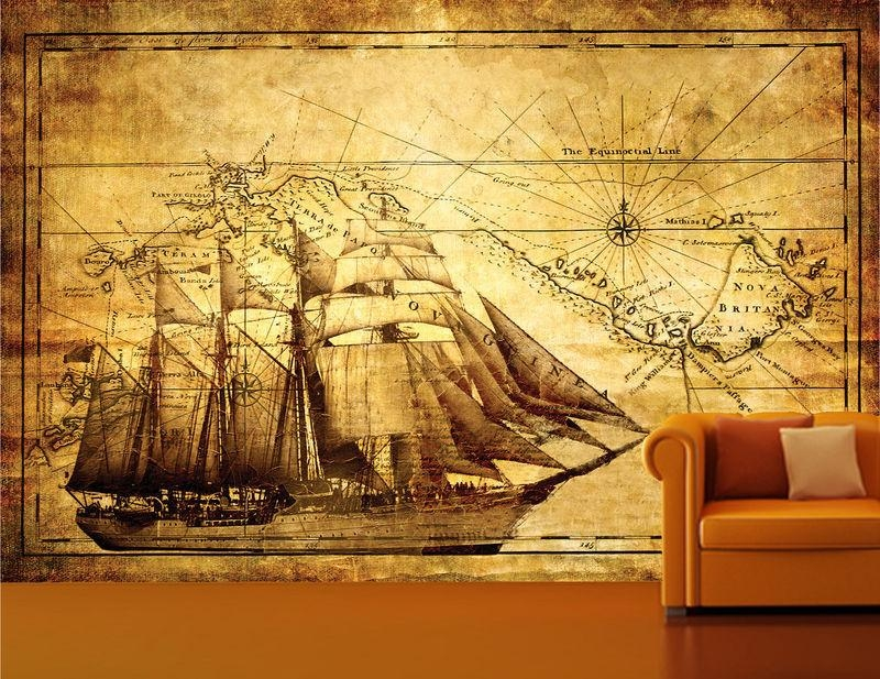 Wall Murals Australia, Wall Paper Prints, Custom Wall Stickers For Vintage Map Wall Art (View 18 of 20)