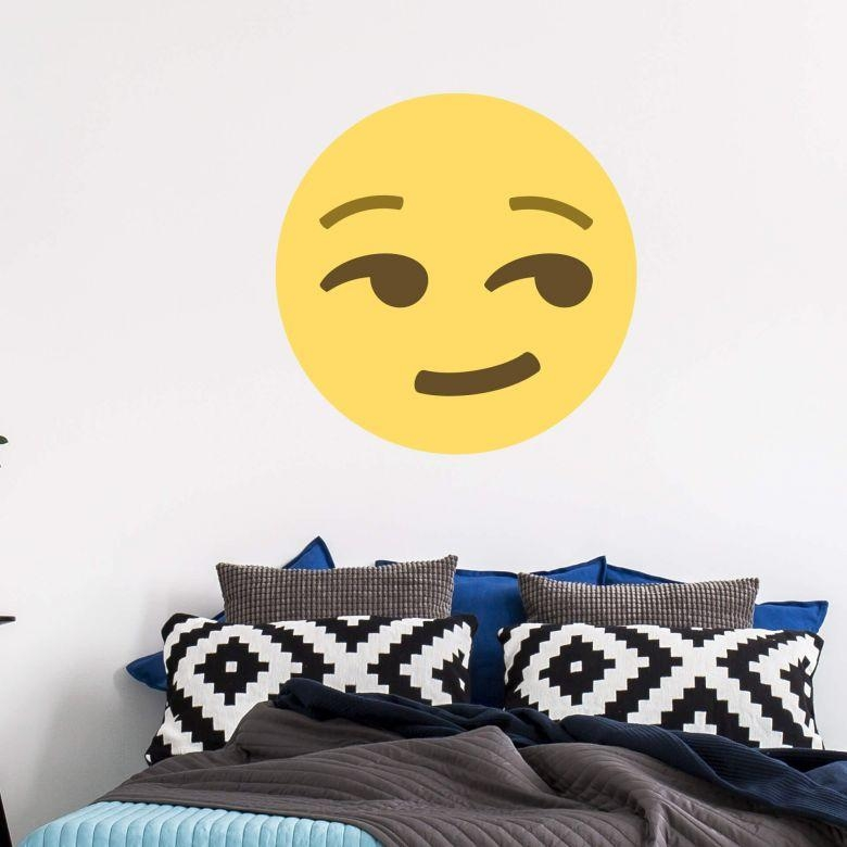 Wall Sticker Emoji Smirking Face – Wall Art Regarding Emoji Wall Art (View 7 of 20)