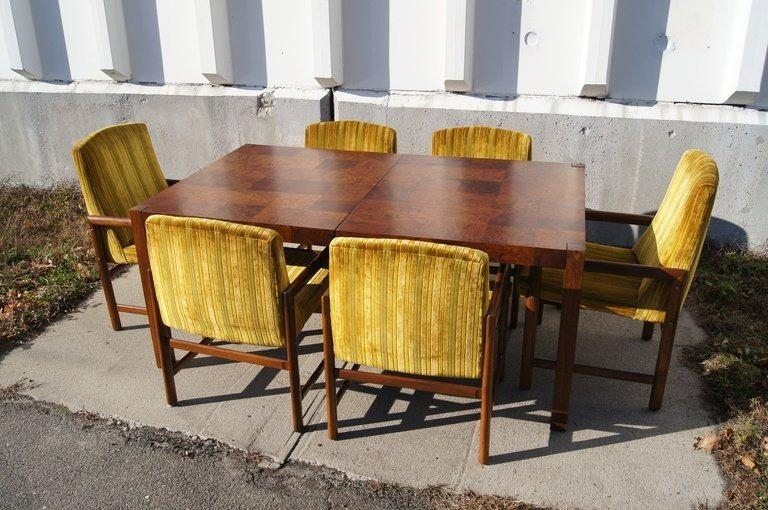 Walnut Burl Wood Dining Table With Six Chairsrapids Of Boston With Regard To Current Wooden Dining Sets (View 18 of 20)