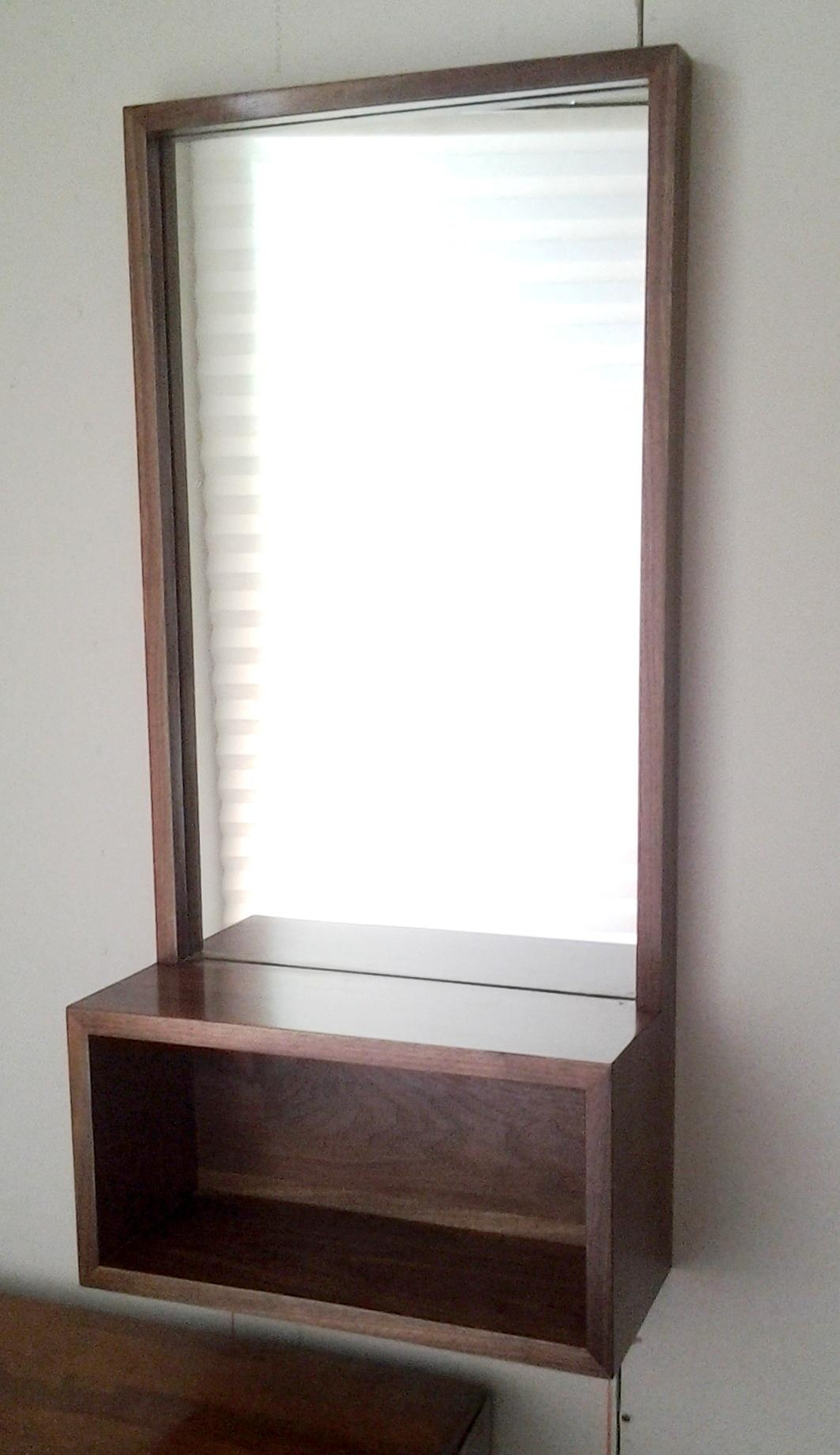 Walnut Entry Hall Mirror With Shelf | Intended For Modern Hall Mirrors (Image 20 of 20)