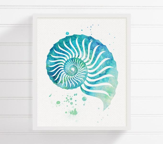 Watercolor Seashell Seashell Art Seashell Print Sea Shell Pertaining To Seashell Prints Wall Art (View 7 of 20)