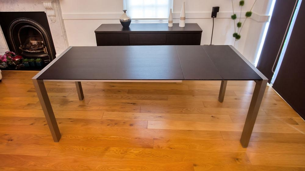 Wenge Dark Wood Extending Dining Table | Brushed Metal Legs | Seats 8 Regarding Most Recent Dark Wood Extending Dining Tables (Image 18 of 20)