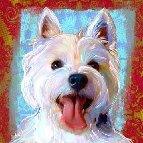 West Highland Terrier Westie Dog Art Print – Contemporary Pertaining To Westie Wall Art (Image 15 of 20)