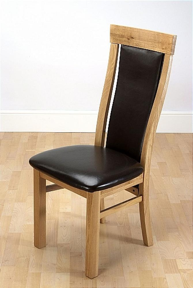 Wexford Oak Dining Chair With Dark Brown Leather Seat With 2017 Oak Leather Dining Chairs (Image 20 of 20)