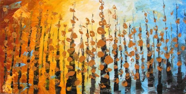 Whispering Leaves 45 X 23 Original Oil Modern Contemporary Home Pertaining To Orange And Blue Wall Art (Image 20 of 20)