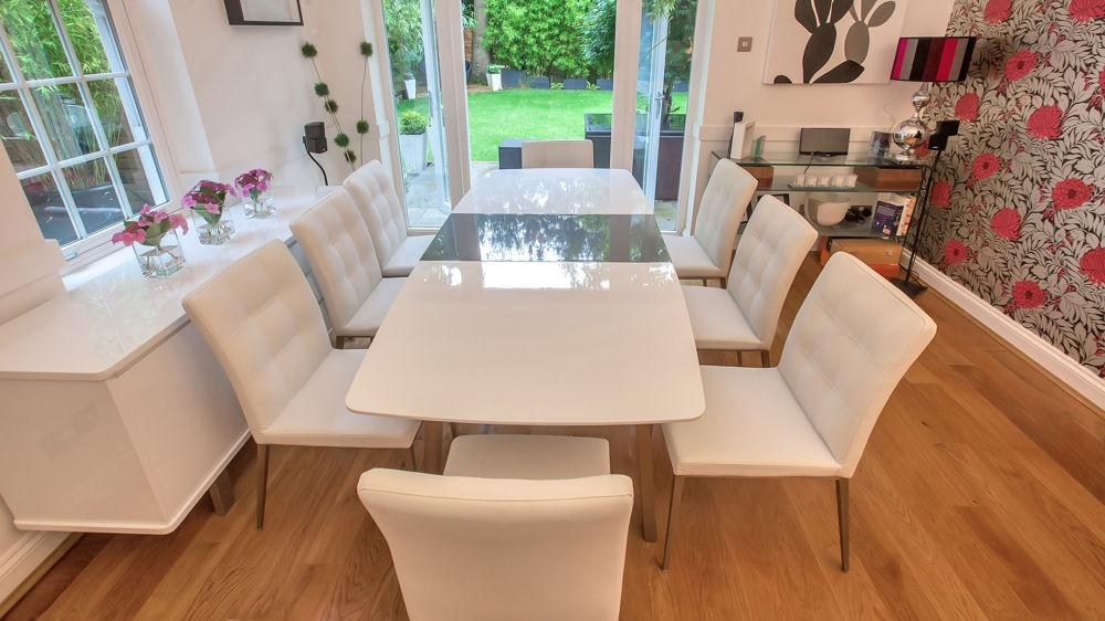 White And Grey Gloss Extending Dining Set | Grey Or White Quilted With Latest White Dining Tables 8 Seater (Image 18 of 20)