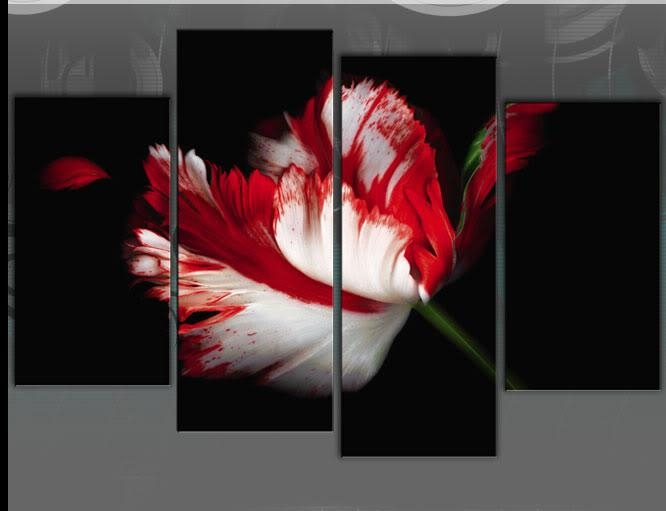 White Black Large Designer Flower Print Throughout Red And Black Canvas Wall Art (View 6 of 20)