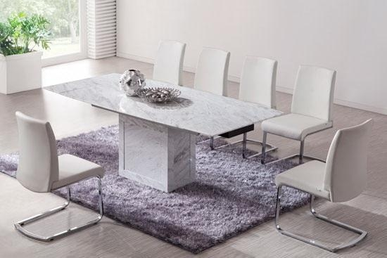 White/brown Extending Dining Table (Marble) – Kk Furniture Supplier Intended For Extending Marble Dining Tables (View 3 of 20)