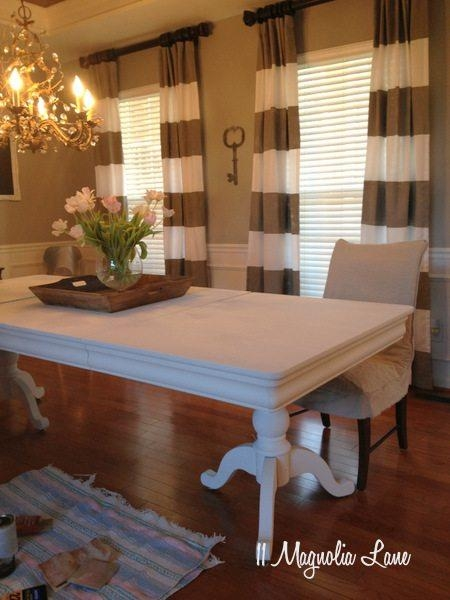 White Chalk Painted Dining Room Table & Monogrammed Chairs | 11 Pertaining To Current Painted Dining Tables (Image 20 of 20)