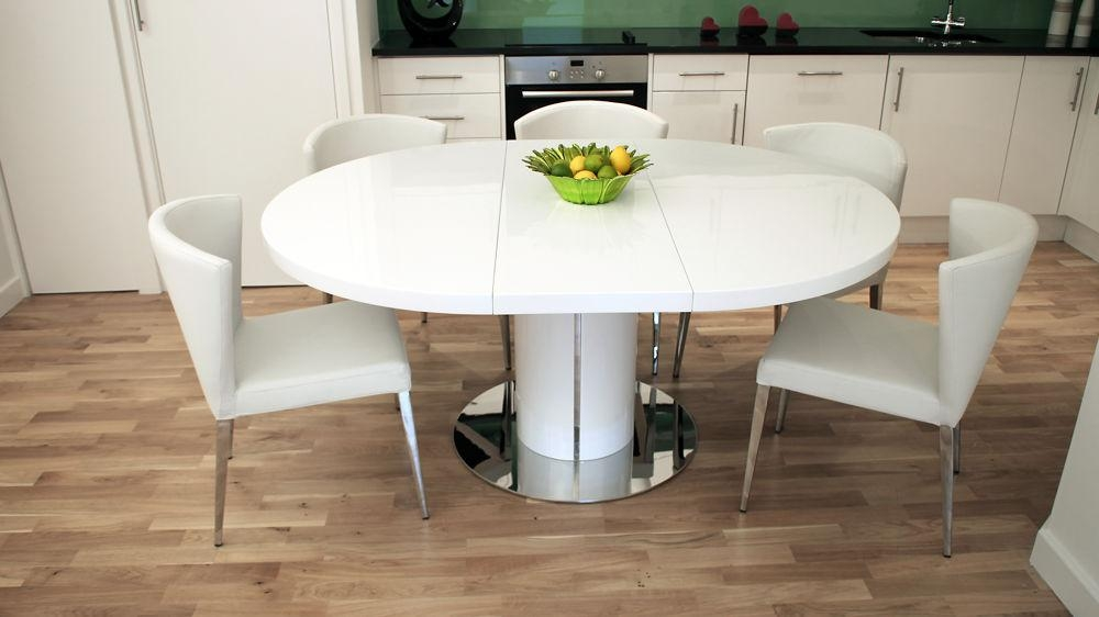 White Extendable Round Dining Table — Home Ideas Collection Inside Recent White Extending Dining Tables And Chairs (View 5 of 20)