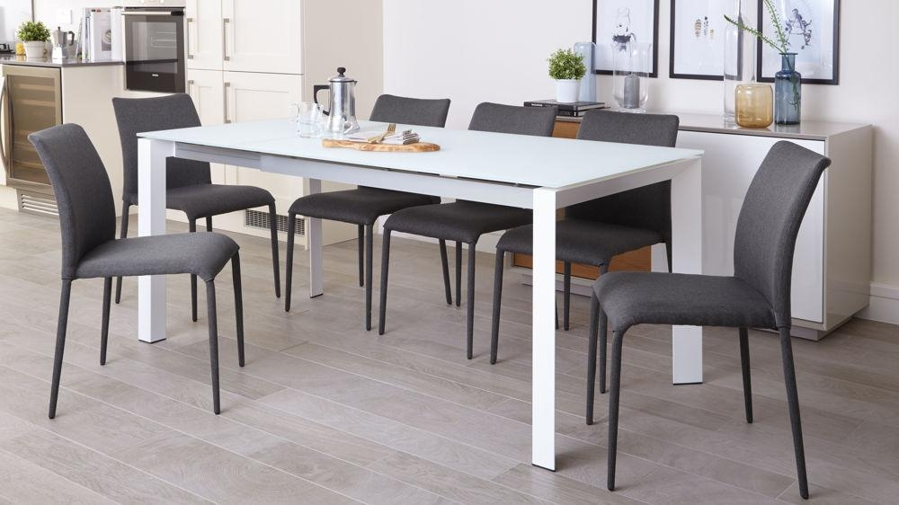 White Frosted Glass Dining Table | Extending Dining Table Within Most Popular Grey Glass Dining Tables (View 9 of 20)