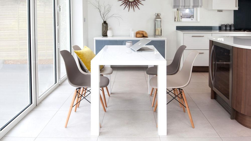 White Gloss 4 Seater Table And Eames Style Dining Chairs Uk With Regard To White Gloss Dining Chairs (View 10 of 20)