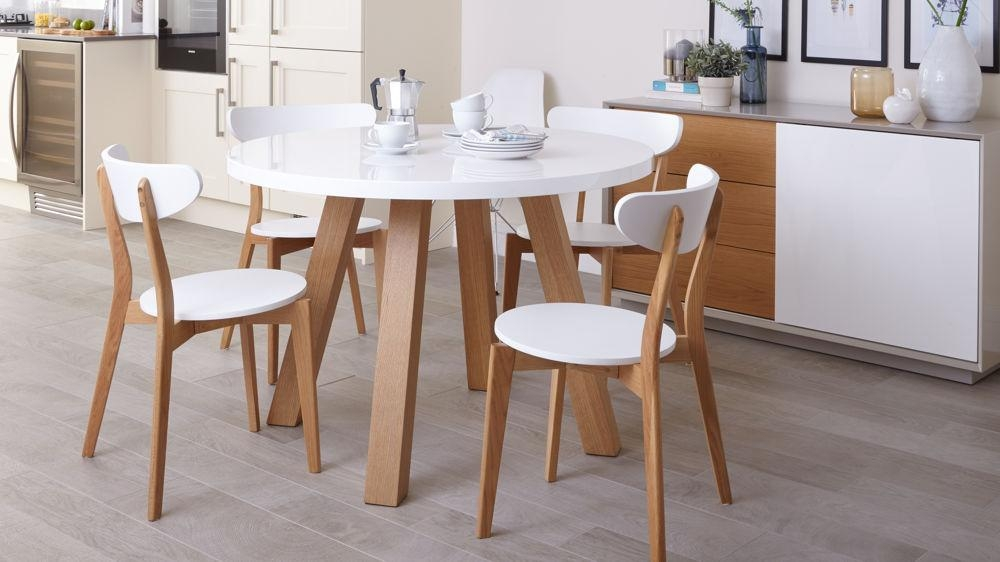 White Gloss And Oak 4 Seater Dining Set | Round Dining Table With 2018 Small 4 Seater Dining Tables (Image 20 of 20)