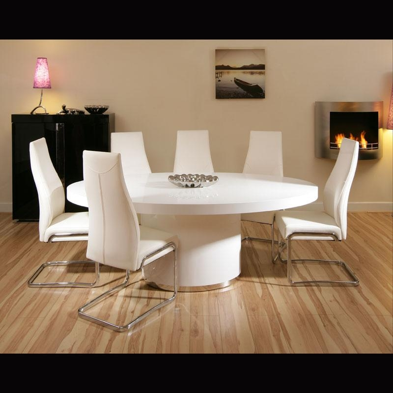 White Kitchen Tables And Chairs: Top 20 Oval White High Gloss Dining Tables