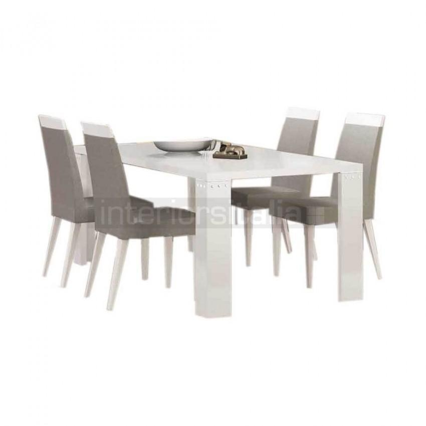 White High Gloss Dining Set | Elegance Diamond | On Sale With Most Popular High Gloss Dining Tables Sets (Image 17 of 20)