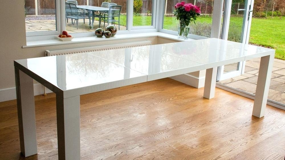 White High Gloss Dining Table Ebay White High Gloss Extending Pertaining To Recent White Gloss Extendable Dining Tables (Image 18 of 20)