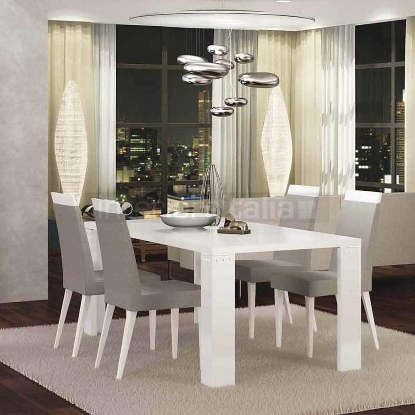 White High Gloss Dining Table | Elegance Diamond | On Sale Pertaining To Gloss Dining Sets (Image 20 of 20)