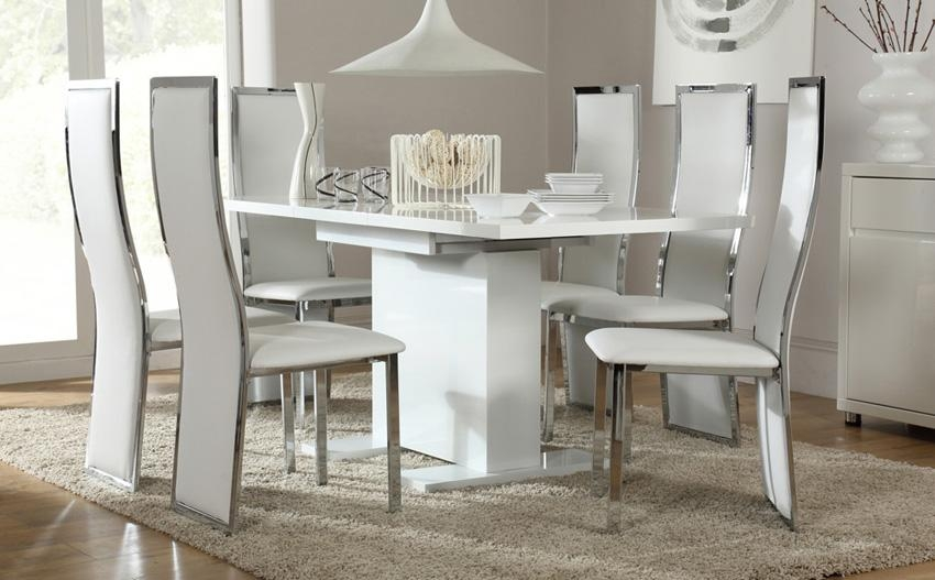 White High Gloss Dining Table Popular Dining Table Sets On Glass Pertaining To Most Recently Released High Gloss White Dining Tables And Chairs (Image 18 of 20)
