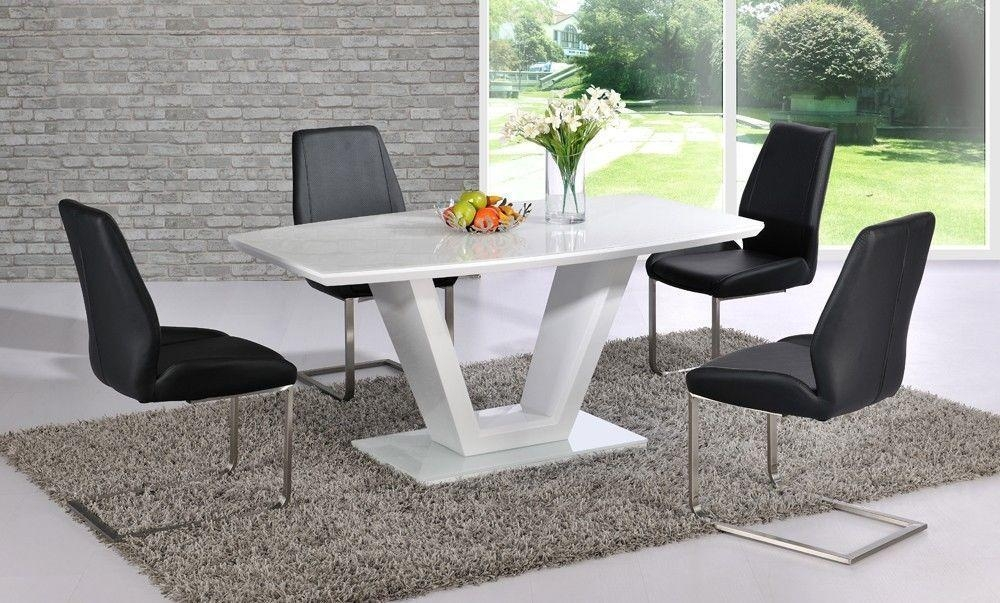 White High Gloss Dining Table With Glass Top And 6 Black Chairs Pertaining To 2018 High Gloss Dining Chairs (Image 18 of 20)