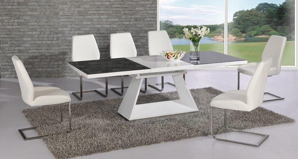 White High Gloss Extending Black Glass Dining Table And 8 Chairs Intended For Most Current White Gloss And Glass Dining Tables (View 11 of 20)