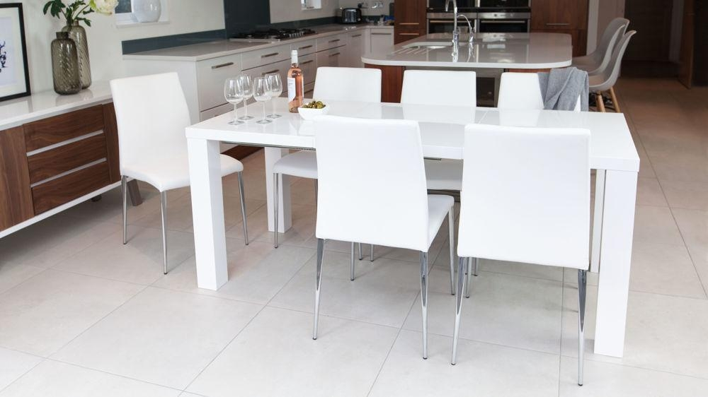 White High Gloss Extending Dining Table And Chairs Uk Intended For Current High Gloss White Dining Tables And Chairs (Image 19 of 20)