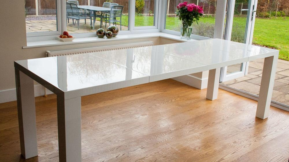 White High Gloss Extending Dining Table And Chairs Uk Pertaining To Most Recent Cream High Gloss Dining Tables (View 9 of 20)