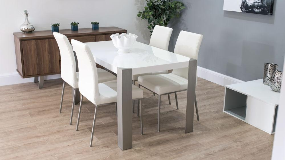 White High Gloss Table & White, Brown Or Beige Faux Leather Dining Pertaining To High Gloss Dining Sets (View 9 of 20)