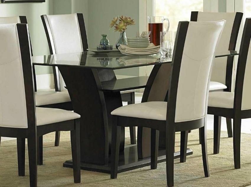 White Leather Dining Room Set – Insurserviceonline Throughout 2018 Glass Dining Tables And Leather Chairs (View 12 of 20)