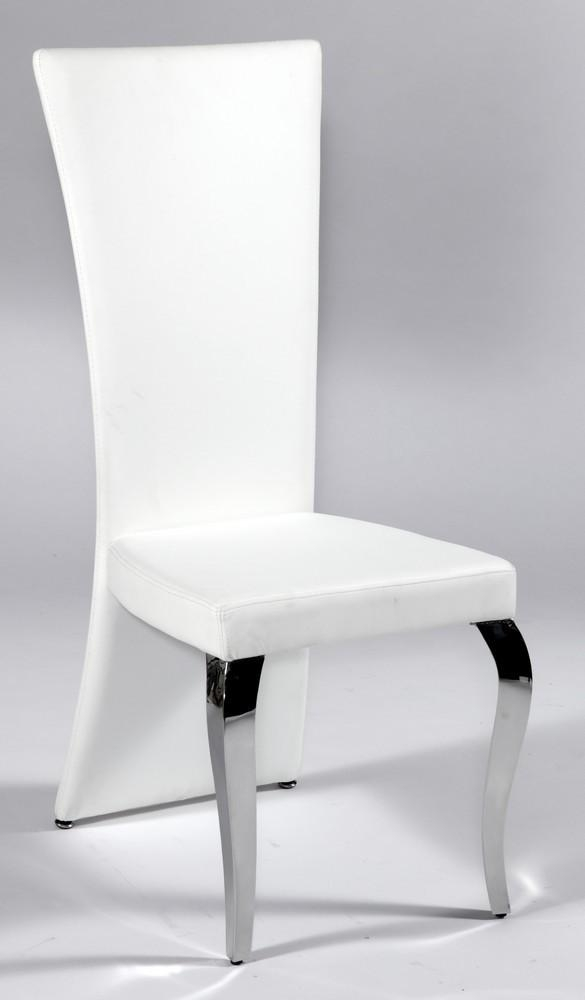 White Leather Seat And Back Chair With Polished Chrome Legs San Pertaining To Most Popular Chrome Leather Dining Chairs (View 11 of 20)
