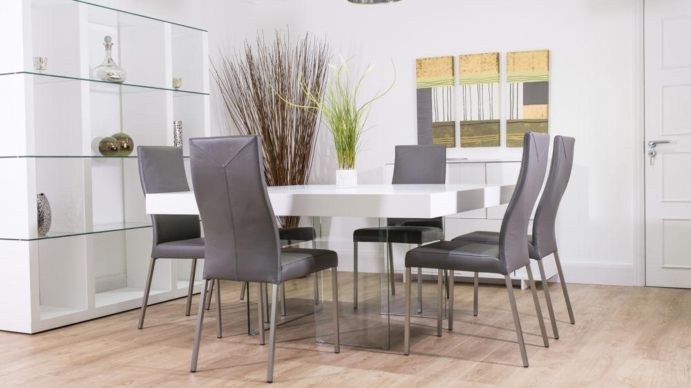 White Oak Square Dining Table | Glass Legs | Seats 6 – 8 Intended For Recent White Dining Tables 8 Seater (Image 19 of 20)