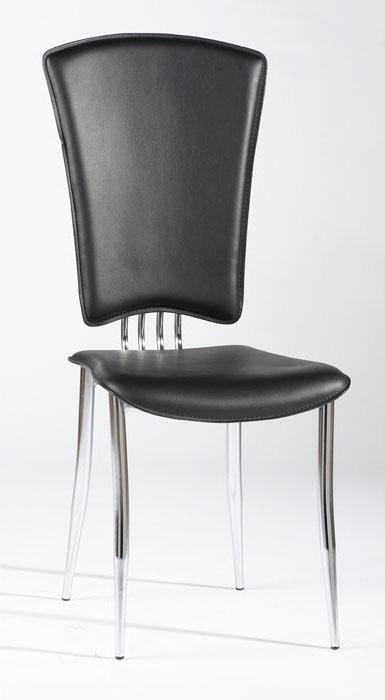 White Or Black Leather Dining Chairs With Chrome Legs And High With Regard To High Back Leather Dining Chairs (Image 20 of 20)