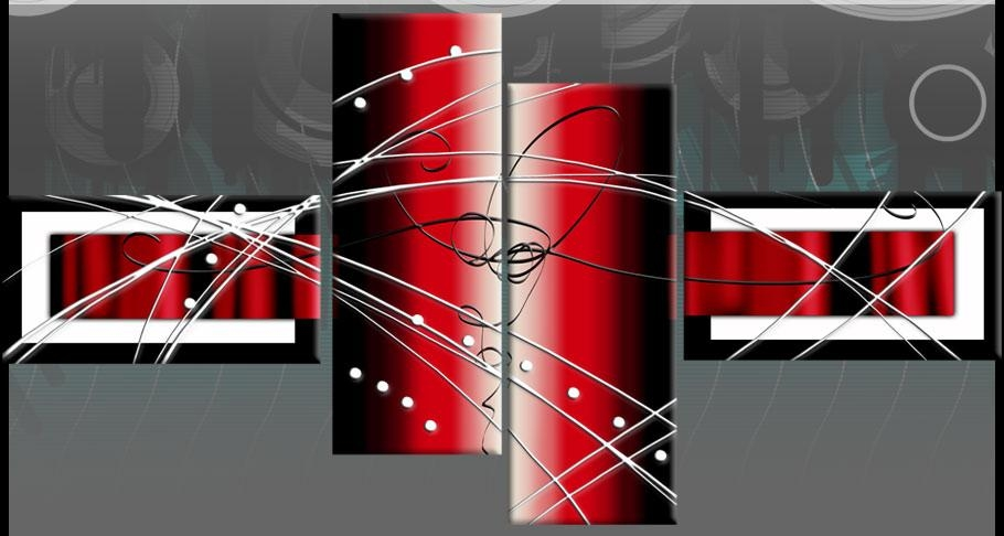 White Red Wide Stretch 4 Panel Abstract Canvas Wall Art Picture With Red And Black Canvas Wall Art (View 19 of 20)
