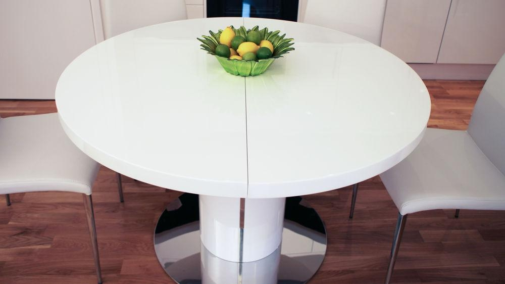 White Round Extending Dining Table Uk – Starrkingschool Pertaining To Most Popular White Gloss Round Extending Dining Tables (Image 20 of 20)