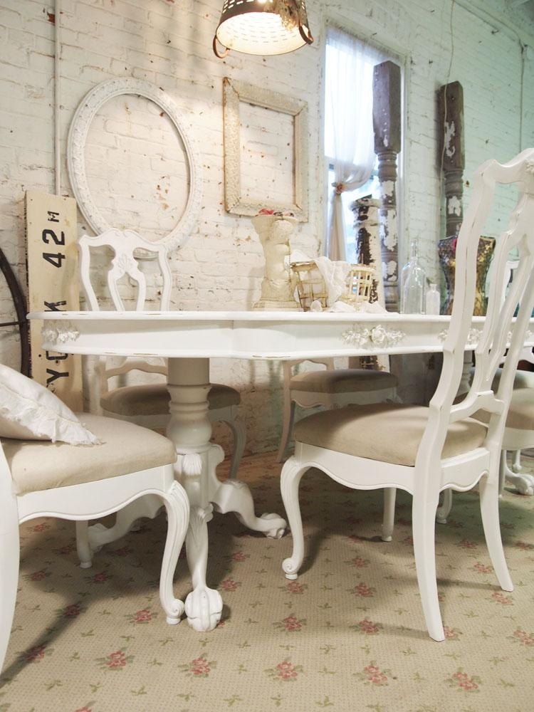 White Shabby Chic Dining Table – Large And Beautiful Photos (Image 20 of 20)
