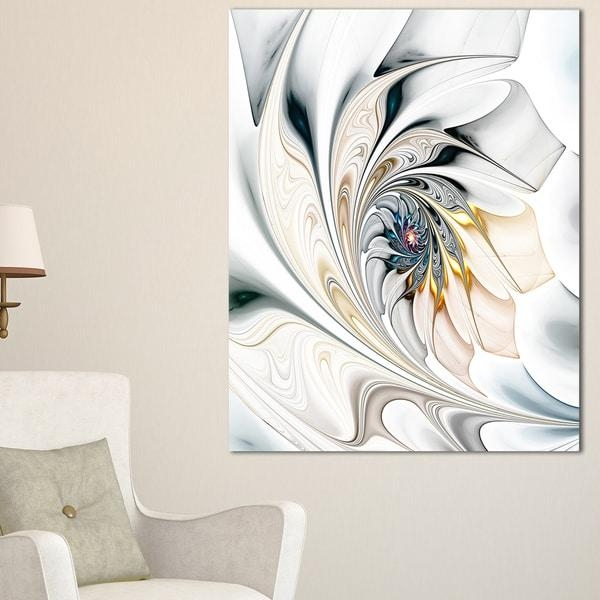 White Stained Glass Floral Art – Large Floral Wall Art Canvas With Regard To Floral Wall Art Canvas (Image 19 of 20)