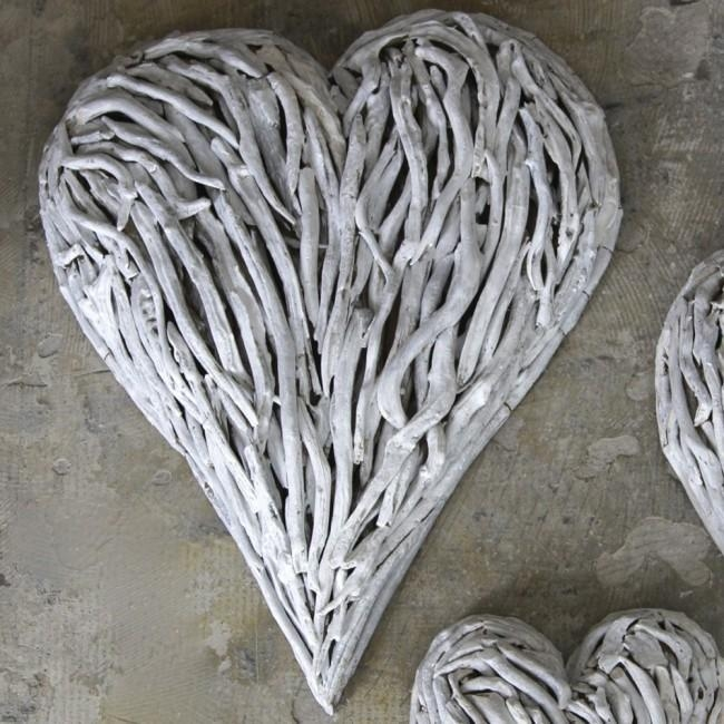 White Washed Driftwood Hearts Designedkaren Miller | Doris In Pertaining To Driftwood Heart Wall Art (Image 20 of 20)
