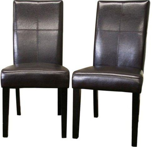 Wholesale Interiors 2366 Brn Hail Leather Dining Chairs Set Of Two Throughout 2018 Dark Brown Leather Dining Chairs (Image 20 of 20)